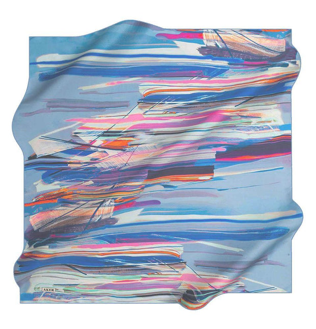 Aker Silk Cotton Patterned Square Scarf #7814-422