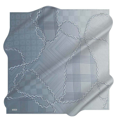 Aker scarf Blue Aker Silk Cotton Patterned Square Scarf #8117-421