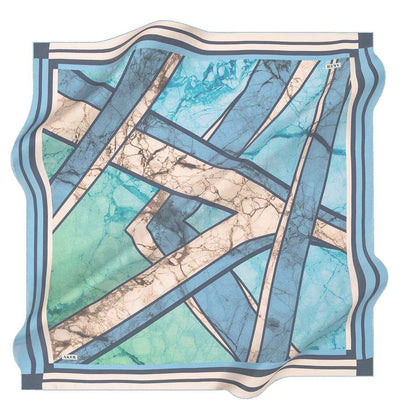 Aker scarf Blue/Beige Aker Silk Cotton Patterned Square Scarf #8026-421