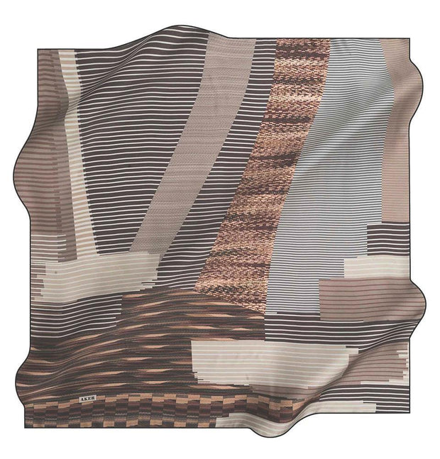 Aker scarf Brown Aker Silk Cotton Patterned Square Scarf #7811-412