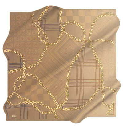 Aker scarf Golden Brown Aker Silk Cotton Patterned Square Scarf #8117-461