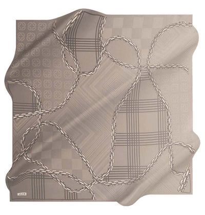 Aker scarf Gray Aker Silk Cotton Patterned Square Scarf #8117-471