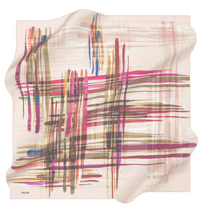 Aker scarf Light Pink/Multicolored Aker Silk Cotton Patterned Square Scarf #8061-491