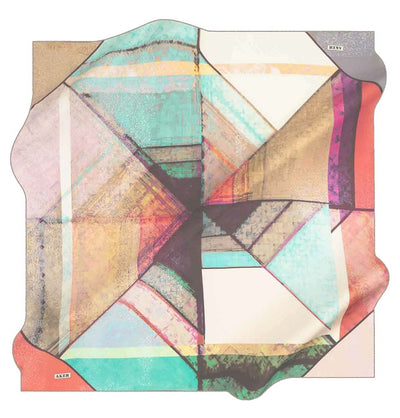 Aker scarf Multicolored Aker Silk Cotton Patterned Square Scarf #7952-431
