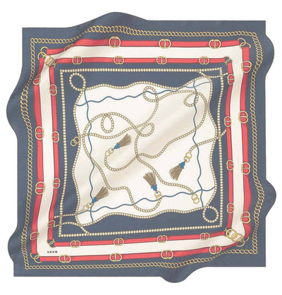 Aker scarf Navy Blue/White/Red Aker Silk Cotton Patterned Square Scarf #8029-422