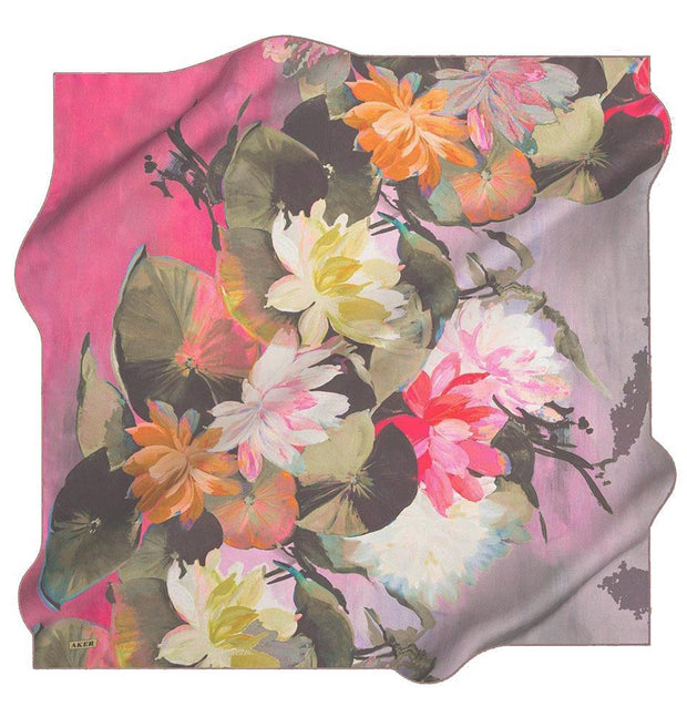 Aker scarf Pink Aker Silk Cotton Patterned Square Scarf #7759-491