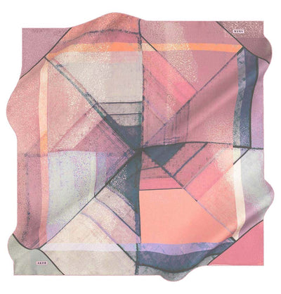 Aker scarf Pink Aker Silk Cotton Patterned Square Scarf #7952-491