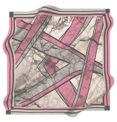 Aker scarf Pink/Gray Aker Silk Cotton Patterned Square Scarf #8026-492