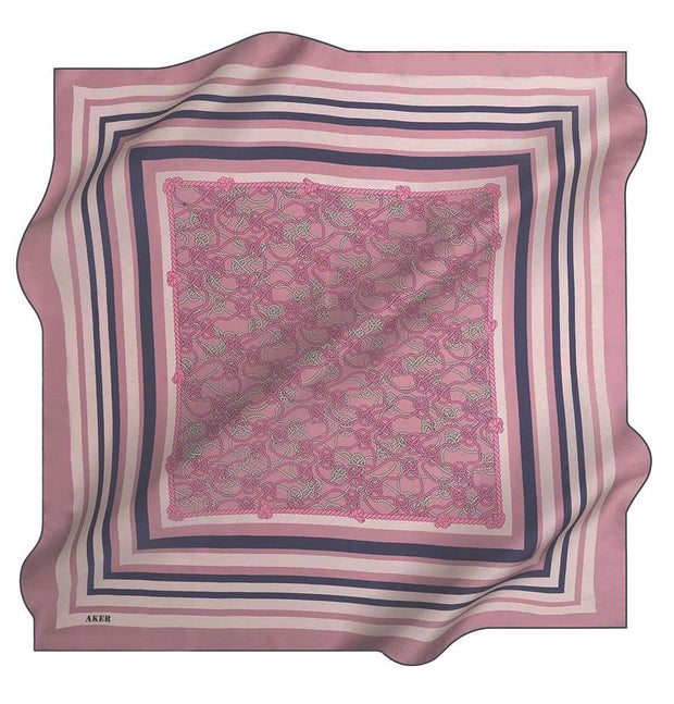 Aker scarf Pink/Navy Blue Aker Silk Cotton Patterned Square Scarf #7807-423