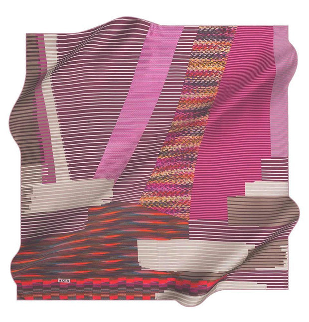 Aker scarf Pink/Red Aker Silk Cotton Patterned Square Scarf #7811-491