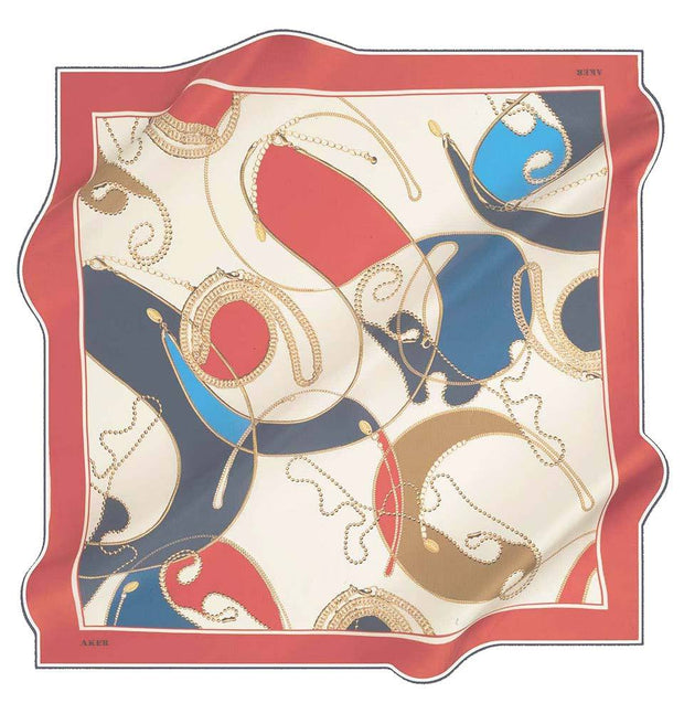 Aker scarf Red/Navy/Ivory Aker Silk Cotton Patterned Square Scarf #8088-422