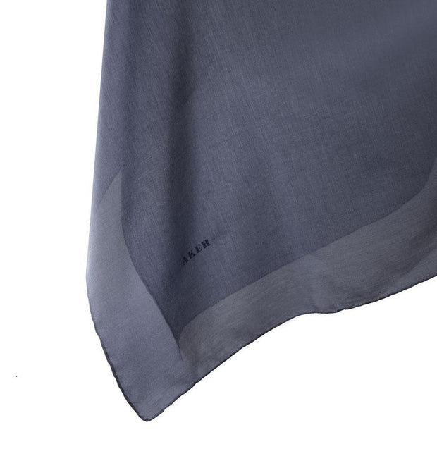 Aker scarf Slate Blue Aker Silk Cotton Square Solid Scarf #7071-423