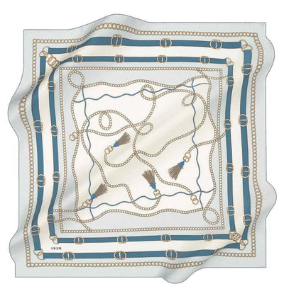 Aker scarf White/Blue Aker Silk Cotton Patterned Square Scarf #8029-423