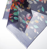 Aker Shawl 75 x 200cm / Dark Blue Aker Silk Cotton Patterned Shawl #7312-421