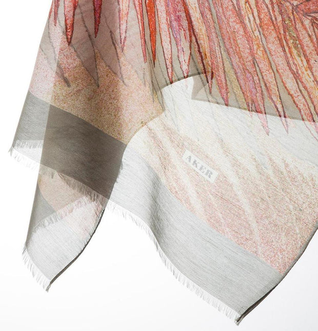 Aker Shawl 75 x 200cm / Grey Aker Silk Cotton Patterned Shawl #7344-471