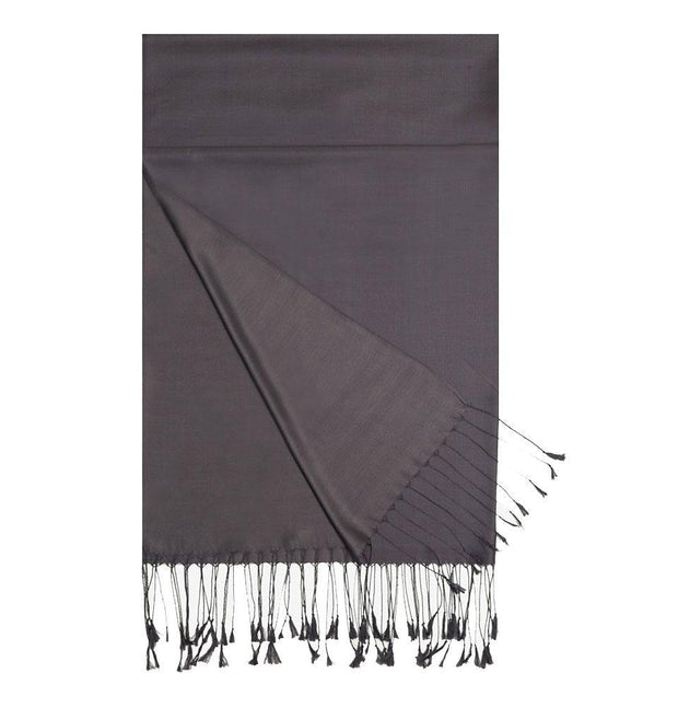 Aker Double-Sided Silk Hijab Shawl #336 - Charcoal Gray