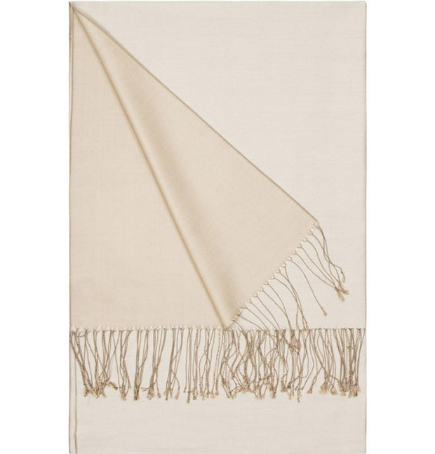 Aker Shawl Beige / Ivory Aker Spring Summer 2015 Double-Sided Silk Shawl #377