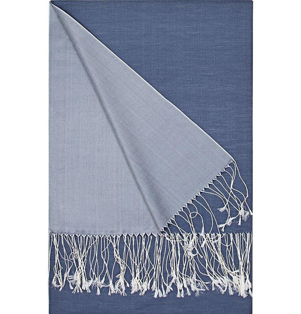 Aker Shawl Blue Aker Spring Summer 2015 Double-Sided Silk Shawl #373