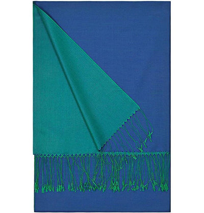 Aker Double-Sided Silk Hijab Shawl #353 - Blue / Green
