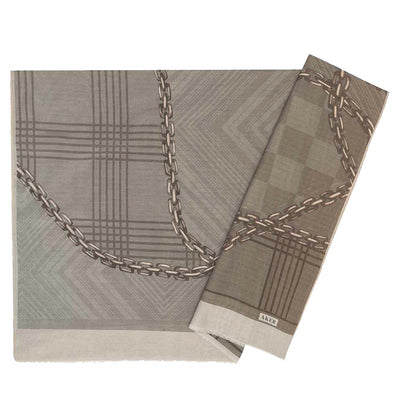 Aker Shawl Gray Aker Silk Cotton Patterned Hijab Shawl #8117-471