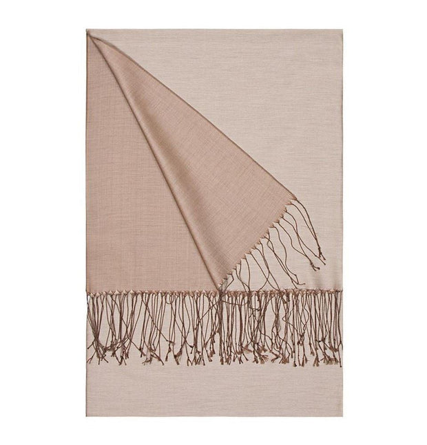 Aker Shawl Light Brown Aker Double-Sided Silk Shawl #381- Light Brown