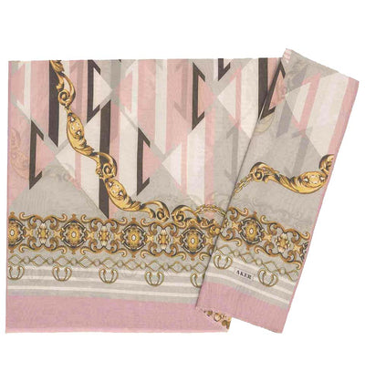 Aker Shawl Pink/Gold Aker Silk Cotton Patterned Hijab Shawl #8023-491
