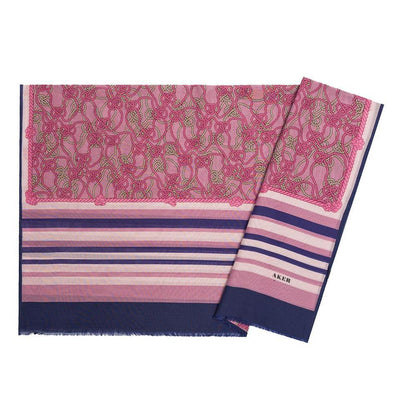 Aker Shawl Pink/Navy Blue Aker Silk Cotton Patterned Hijab Shawl #7807-423