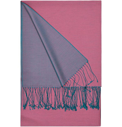 Aker Shawl Aker Double-Sided Silk Shawl #395 - Pink / Purple - Modefa