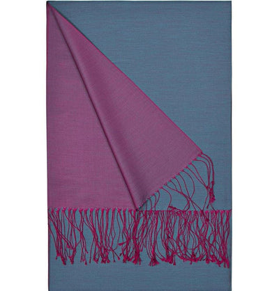 Aker Shawl Purple / Blue Aker Spring Summer 2015 Double-Sided Silk Hijab Shawl #393