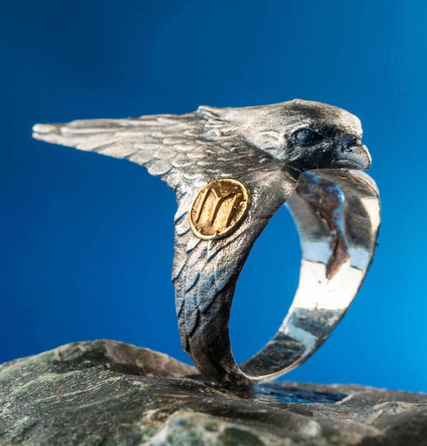 Men's Sterling Silver Licensed Ertugrul Hawk Ring