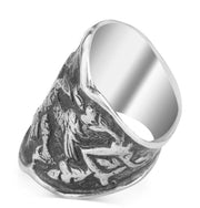 Men's Sterling Silver Licensed Ertugrul Eagle Thumb Ring