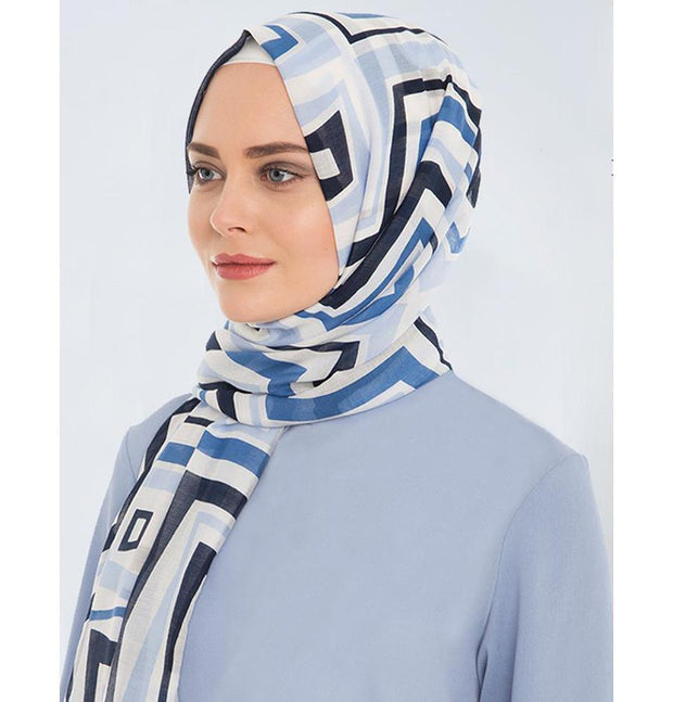 Armine Gold Shawl Blue / White Armine Gold Cotton Printed Hijab Shawl 077-017