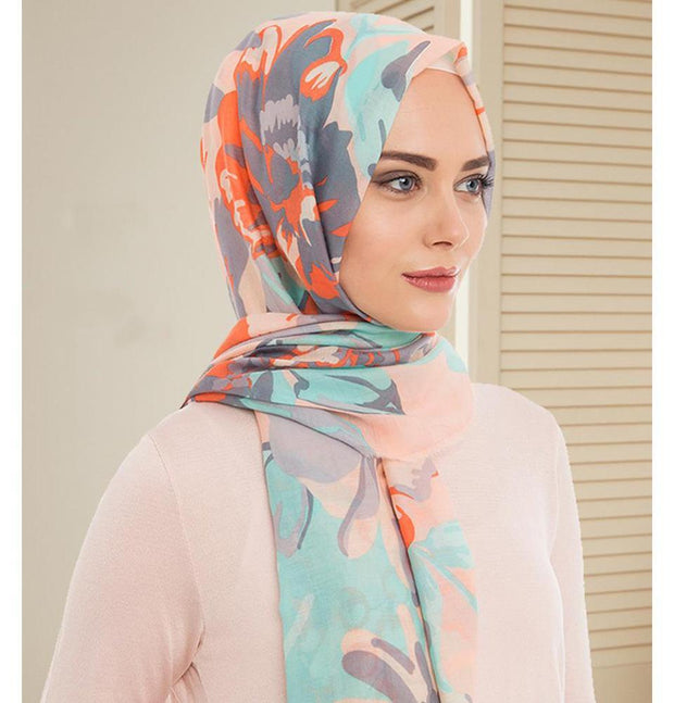 Armine Gold Shawl Pink / Grey Armine Gold Cotton Hijab Shawl Floral 077-018