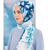 Armine Gold Shawl White / Blue Armine Gold Cotton Hijab Shawl Floral 077-018