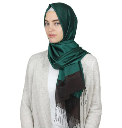 Armine Trend Taffeta Hijab Shawl Green/Brown