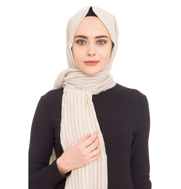 Armine Trend Shawl Beige Armine Trend Cotton Striped Hijab Shawl 9873