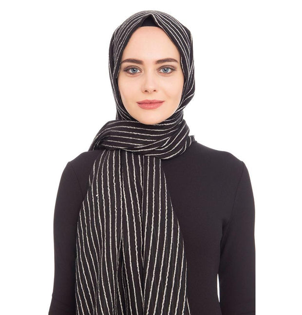 Armine Trend Shawl Black Armine Trend Cotton Striped Hijab Shawl 9873
