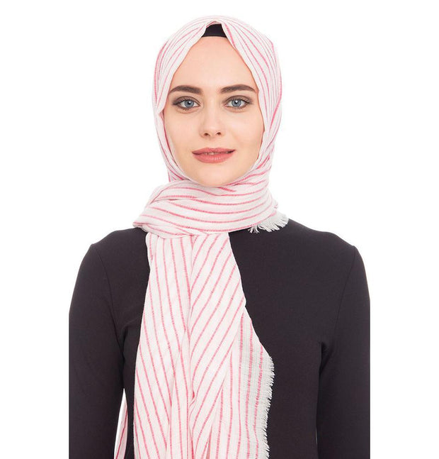 Armine Trend Shawl Ivory / Red Armine Trend Cotton Striped Hijab Shawl 9873