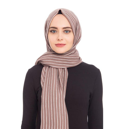 Armine Trend Cotton Striped Hijab Shawl 9873