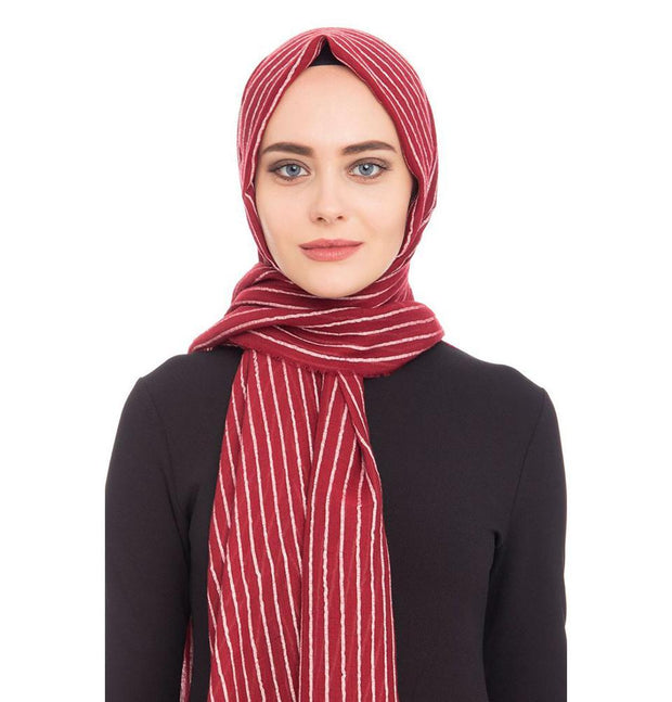 Armine Trend Shawl Red Armine Trend Cotton Striped Hijab Shawl 9873