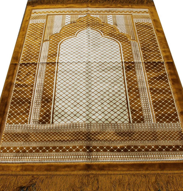 Aydin Prayer Rug Gold Velvet Wide Large Islamic Prayer Rug Geometric Gold