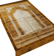 Aydin Prayer Rug Velvet Wide Large Islamic Prayer Rug Geometric Gold - Modefa