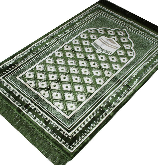 Aydin Prayer Rug Green Velvet Amber Seccade Islamic Prayer Rug Kaba Green