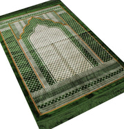 Aydin Prayer Rug Green Velvet Wide Large Islamic Prayer Rug Geometric Green