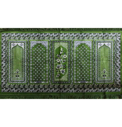 Wide 5 Person Masjid Prayer Rug Dark Green