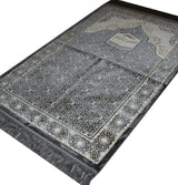 Aydin Prayer Rug Grey Velvet Amber Seccade Prayer Rug Kaba Grey