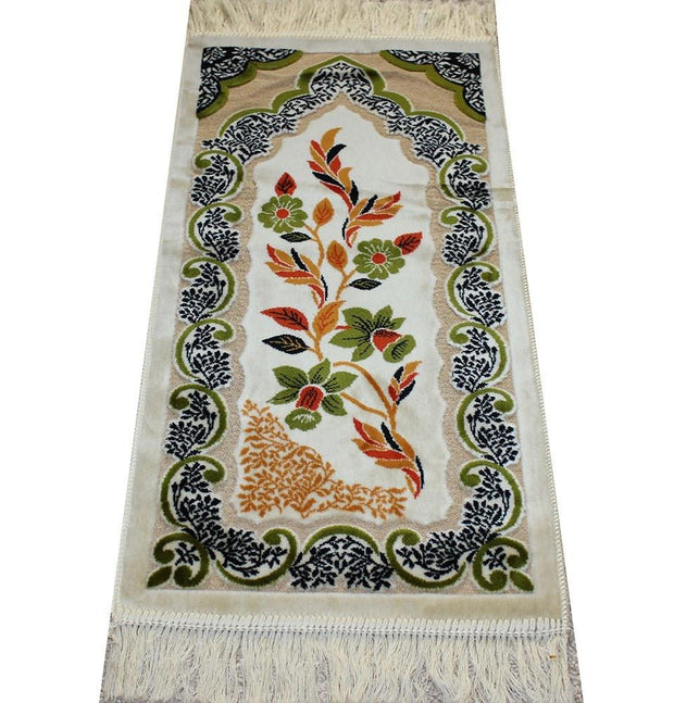 Aydin Prayer Rug Child Velvet Floral Prayer Rug - Ivory / Green - Modefa
