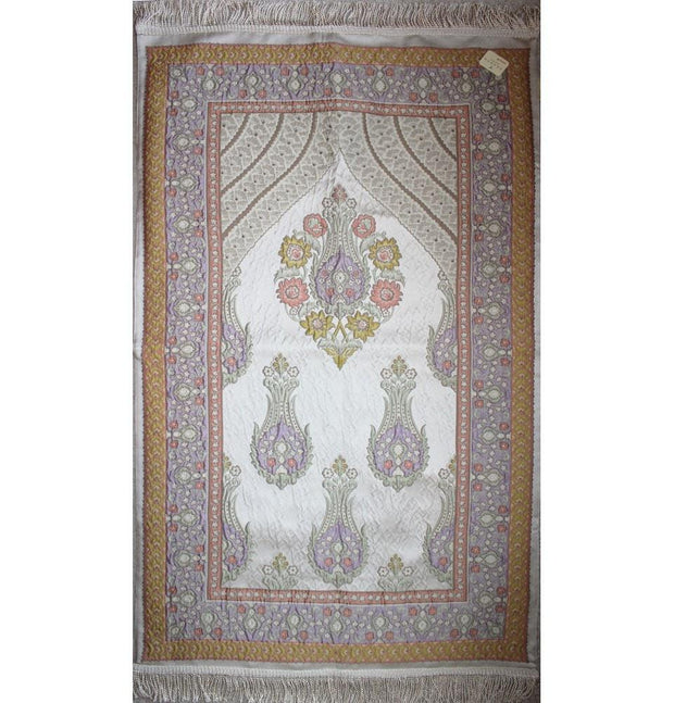 Aydin Prayer Rug Ivory / Orange / Purple Large Wide Luxury Embroidered Islamic Prayer Mat Gift Box 'Jacobean' Tulip- Orange / Purple