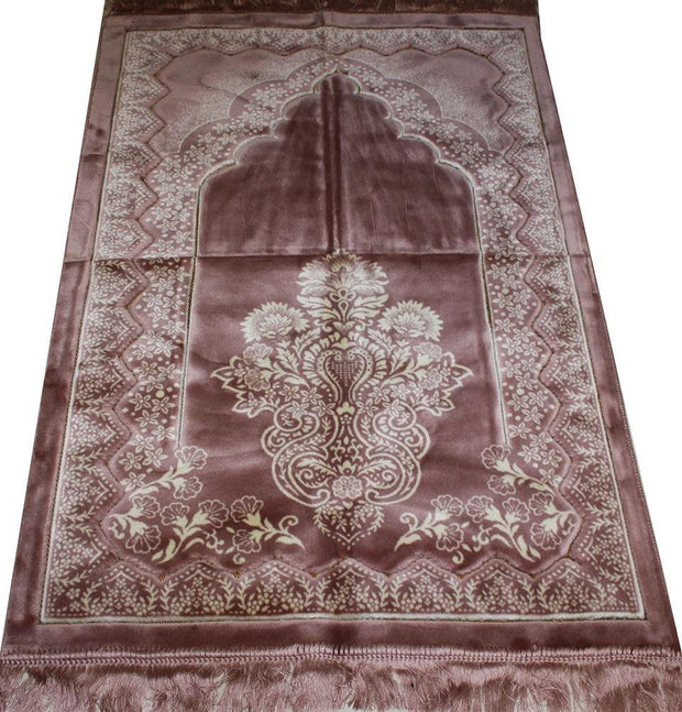 Aydin Prayer Rug Pink Double Plush Wide Large Islamic Prayer Rug - Pink