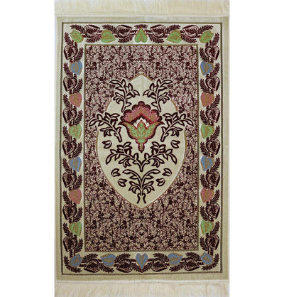Aydin Prayer Rug Plush Velvet 'Simli' Prayer Rug Red Rose - Modefa